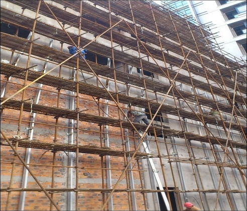 渝中区外墙双排钢管脚手架施工架设