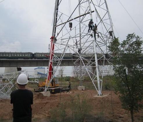 江北区电力跨越钢管脚手架搭建